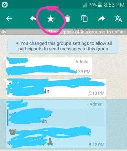 Star a message in whatsapp