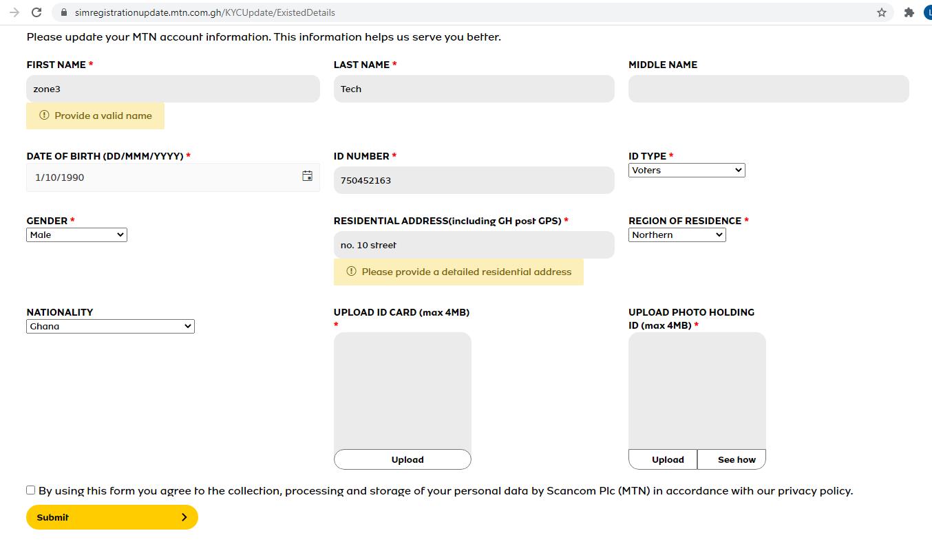 MTN SIM Card Registration Portal